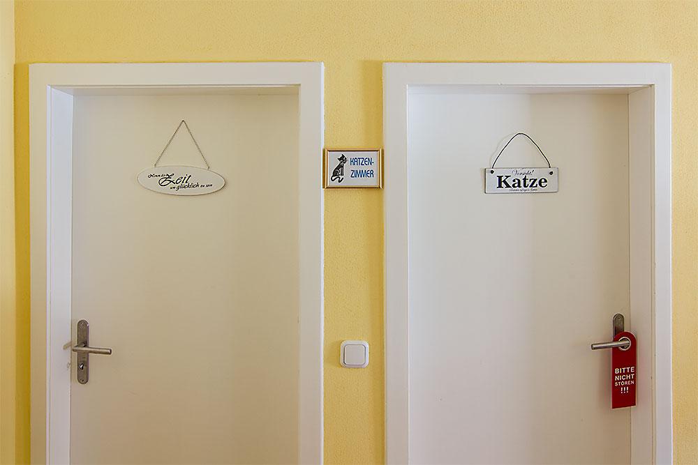 Die Tür in die Zimmer des Katzenhotel
